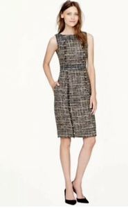 J CREW Womens Sz 6 Pepper Tweed Dress Hand Frayed